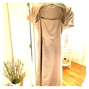 Beautiful Pearl grey to the floor gown
